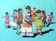 Aaja Nach Le..... by Jitendra Saini, Pop Art Painting, Oil & Acrylic on Canvas, Cyan color