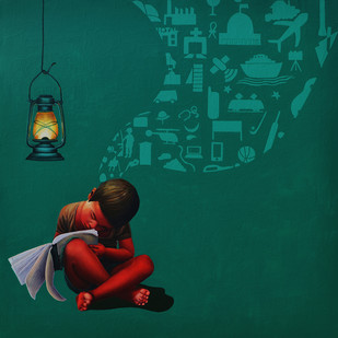 A Boy With The Lantern by Jitendra Saini, Pop Art Painting, Oil & Acrylic on Canvas, Green color