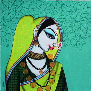 Face 26 by Varsha Kharatmal, Decorative Painting, Acrylic on Canvas, Green color