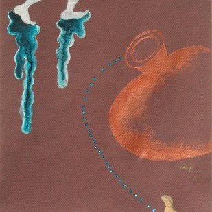 Ascension by Arpana Caur, Expressionism Painting, Gouache on Paper, Brown color