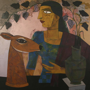 Untitled by Ashoke Mullick, Decorative Painting, Acrylic on Canvas, Brown color