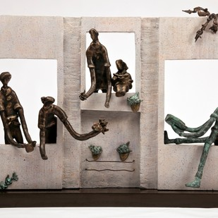 Windows To Joy by Manjari Goenka, Art Deco Sculpture | 3D, Bronze, Gray color