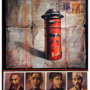 Tracing the Addressee II by Shuvendu Sarkar, Pop Art Painting, Acrylic on Canvas, Brown color