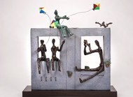 Simple Pleasures (Kite) by Manjari Goenka, Conceptual Sculpture | 3D, Bronze, Gray color