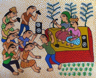 Jogi by Unknown Artist, Folk Painting, Acrylic on Paper, Brown color