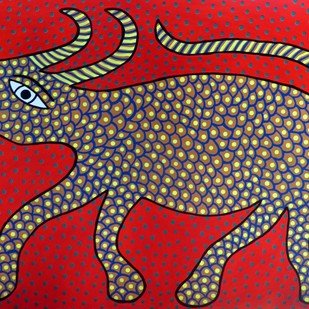 Jogi by Unknown Artist, Folk Painting, Acrylic on Paper, Red color