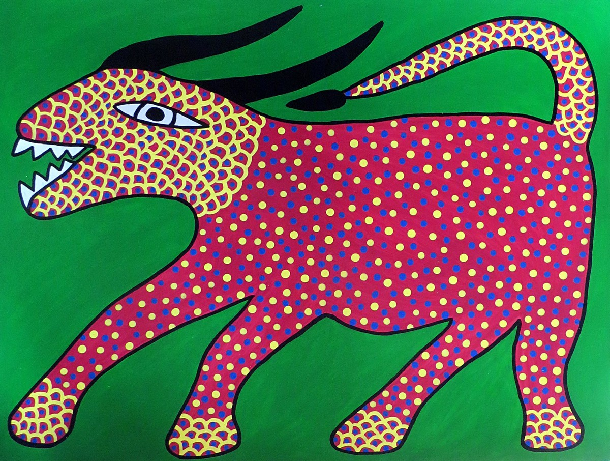 Jogi by Unknown Artist, Folk Painting, Acrylic on Paper, Green color