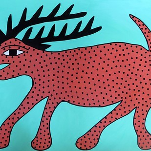 Jogi by Unknown Artist, Folk Painting, Acrylic on Paper, Cyan color