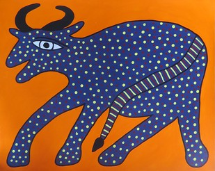 Jogi Painting by Unknown Artist, Folk Painting, Acrylic on Paper, Blue color