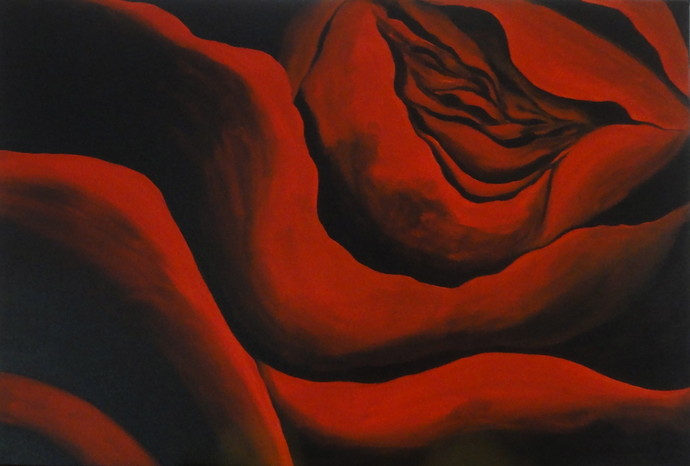 Crimson Velvet by shabnam anand Singh, Impressionism Painting, Acrylic & Ink on Canvas, Brown color