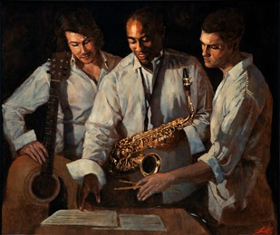 Jazz Trio by Alex Rennie, Realism Painting, Oil on Canvas, Brown color