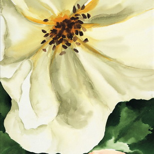 The White Rose by shabnam anand Singh, Impressionism Painting, Watercolor on Paper, Beige color