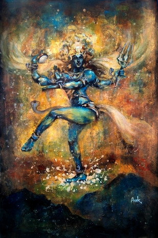 Natraj by Avik Chakraborty, Impressionism Painting, Acrylic & Ink on Paper, Brown color