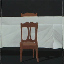 First Supper by Manjunath Kamath, Impressionism Painting, Acrylic on Canvas, Gray color