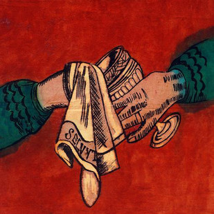 """A Stitch In Time..."" by Lavanya Mani, Impressionism Painting, Mixed Media on Cloth, Red color"