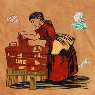 """A Stitch In Time..."" by Lavanya Mani, Impressionism Painting, Mixed Media on Cloth, Brown color"