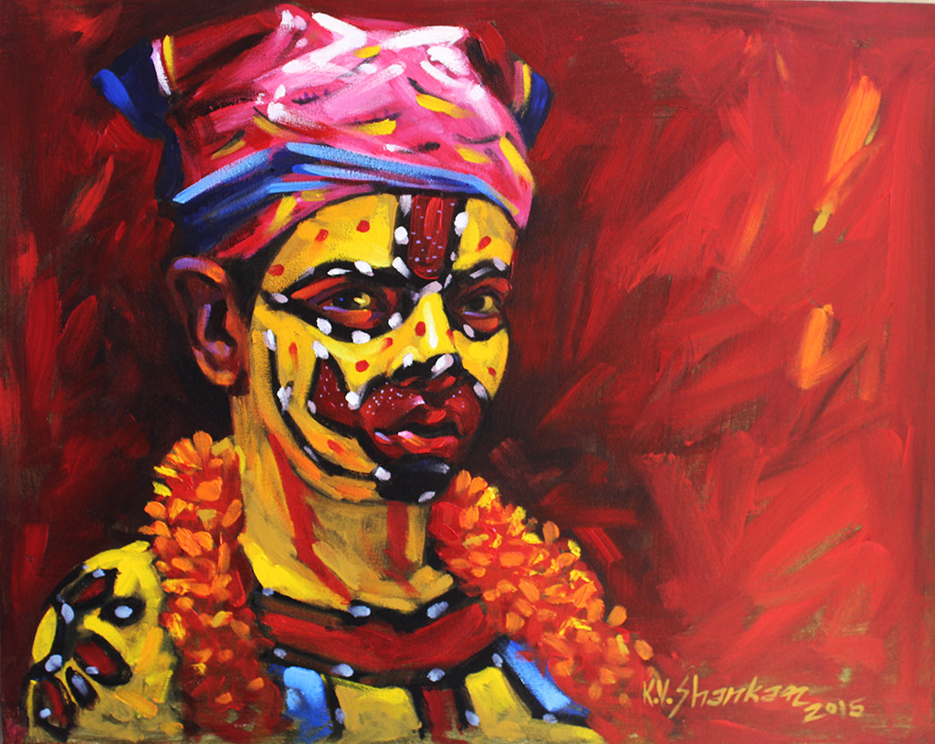 Tiger 12 by K V Shankar, Impressionism Painting, Acrylic on Canvas, Brown color