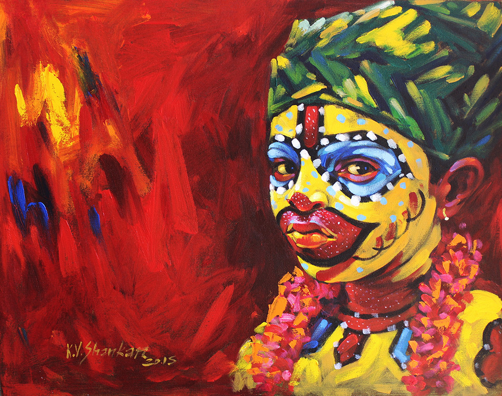 Tiger 13 by K V Shankar, Impressionism Painting, Acrylic on Canvas, Red color