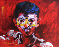 Tiger 14 by K V Shankar, Impressionism Painting, Acrylic on Canvas, Red color