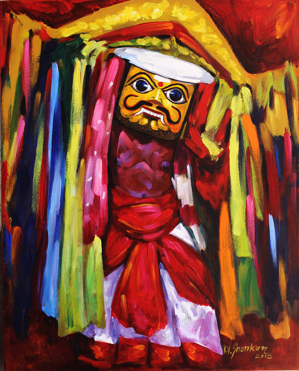 Folk Dance 1 by K V Shankar, Impressionism Painting, Acrylic on Canvas, Brown color