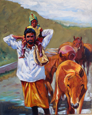 Villager by K V Shankar, Impressionism Painting, Acrylic on Canvas, Brown color