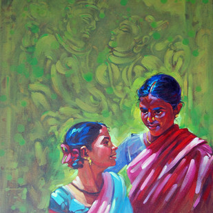 Two Sisters by K V Shankar, Impressionism Painting, Acrylic on Canvas, Green color