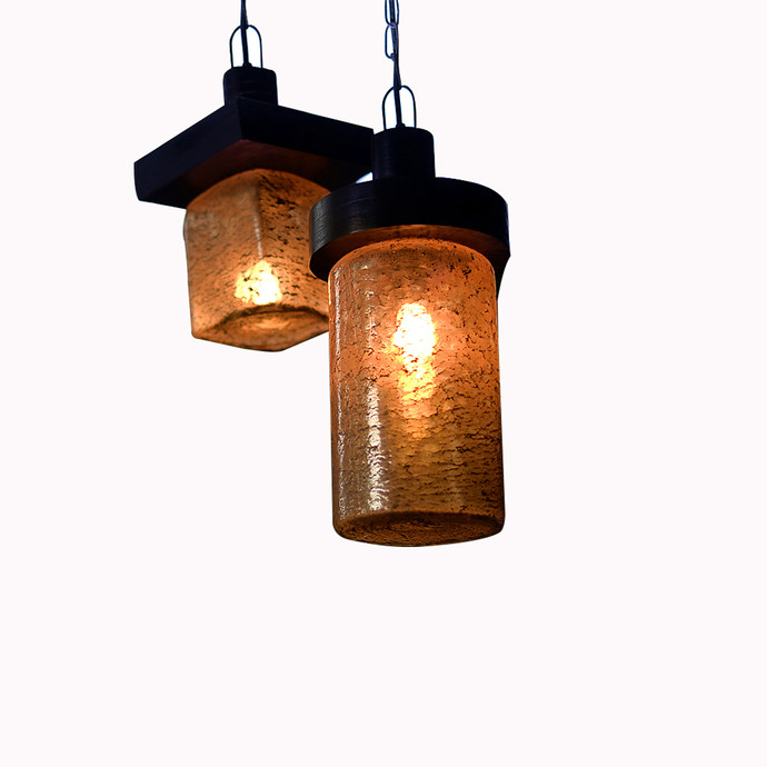 Hanging Lamp with Antique Amber Glass and Wooden Top-set of 2 Ceiling Lamp By The Yellow Door