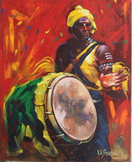 Drummer 7 by K V Shankar, Impressionism Painting, Acrylic on Canvas, Brown color