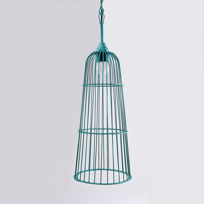Cage Hanging Light: Antique Turquoise Ceiling Lamp By The Yellow Door