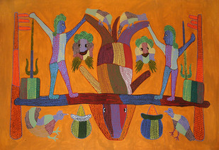 Gond Painting by Bhajju Shyam, Folk Painting, Acrylic on Canvas, Brown color