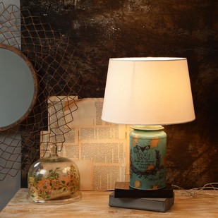 Cocoon Blue-Golden Table Lamp Table Lamp By Fabuliv