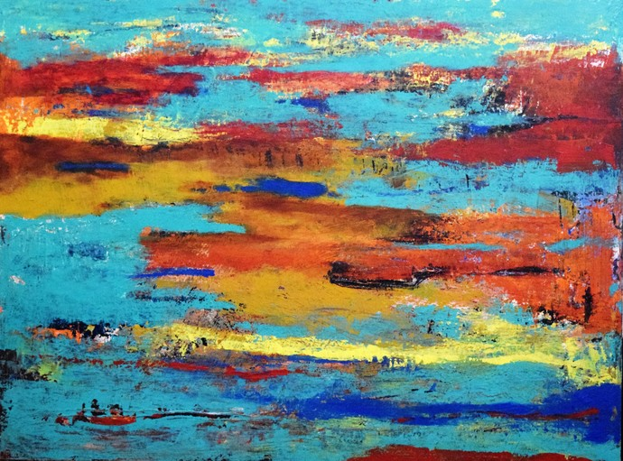 Post War by Shreya Shailee, Abstract Painting, Acrylic on Board, Cyan color