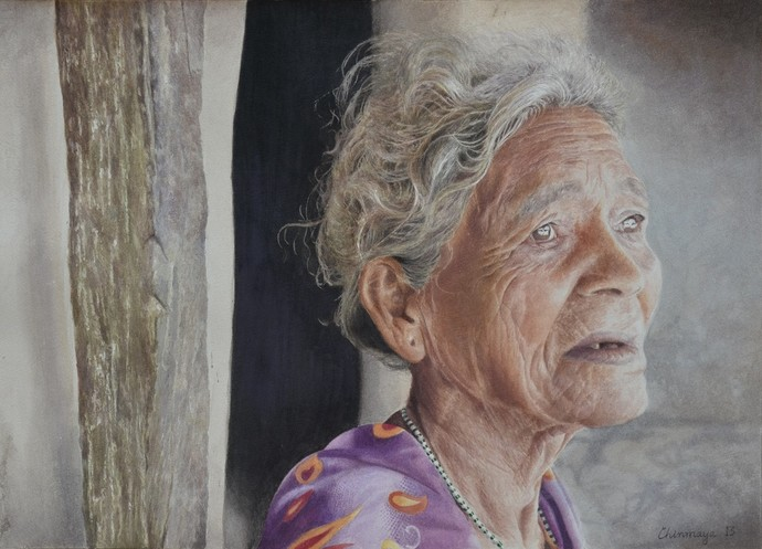 Waiting by Chinmaya Panda, Realism Painting, Watercolor on Paper, Gray color