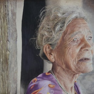 Waiting by Chinmaya Panda, Realism Painting, Watercolor on Paper, Gray color