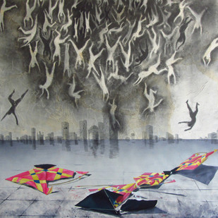 Untitled II by Sandip Daptari, Pop Art Painting, Mixed Media on Canvas, Gray color