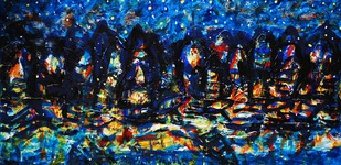 Banaras At Night by Asit Poddar, Impressionism Painting, Acrylic on Canvas, Blue color