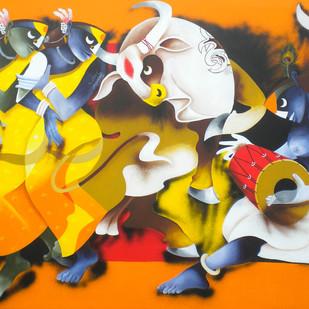 Folk Dance 3 by Uttam Manna, Decorative Painting, Acrylic on Canvas, Orange color