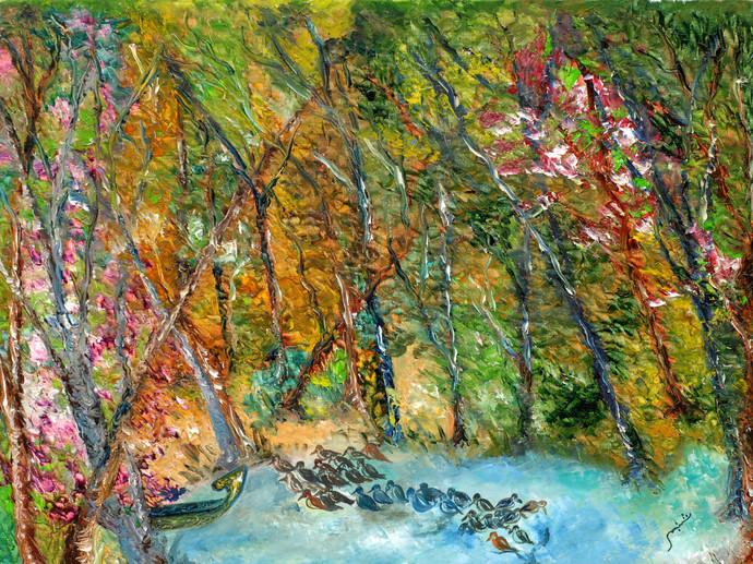 Kumarakom (Kerala) by Shabnam Mehra, Impressionism Painting, Oil on Canvas, Green color