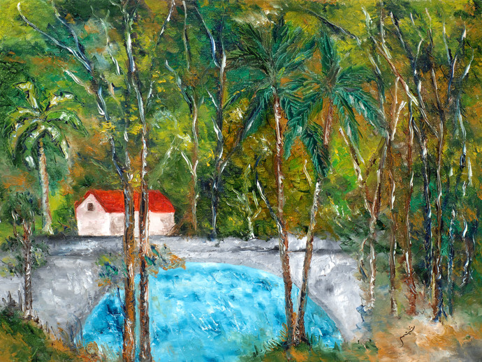 Thanneermukkom (Kerala) by Shabnam Mehra, Impressionism Painting, Oil on Canvas, Green color