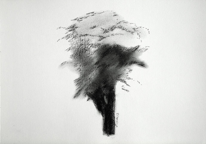 Drawing 1 by Shalaka Deshmukh, Abstract Drawing, Charcoal on Paper, Gray color