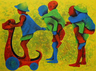 Athkheliya by Lakhan Singh Jat, Impressionism Painting, Acrylic on Canvas, Green color