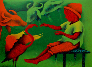Athkheliya by Lakhan Singh Jat, Decorative Painting, Acrylic on Canvas, Green color