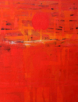 Untitled by Nishi Nitya sharma, Abstract Painting, Mixed Media on Canvas, Red color
