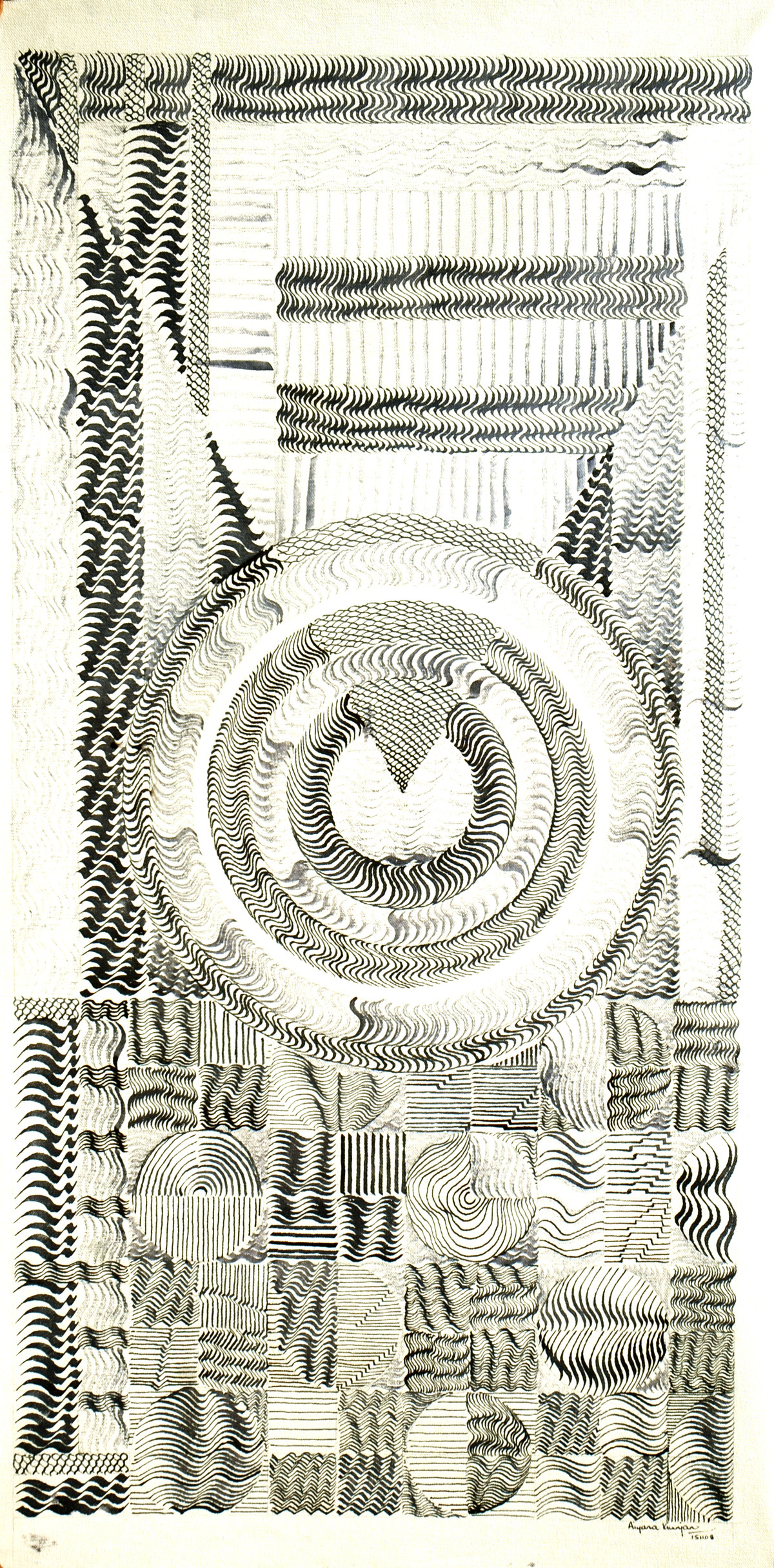 Light Within by Aiyana Gunjan, Abstract Painting, Pen & Ink on Canvas, Beige color