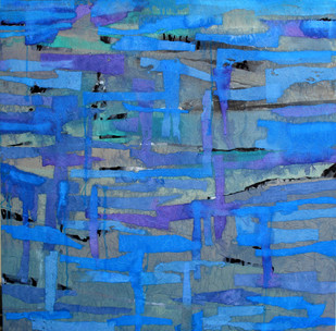 Untitled by Nishi Nitya sharma, Abstract Painting, Mixed Media on Canvas, Blue color