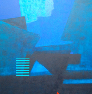 Untitled by Dhirendra Mandge, Abstract Painting, Acrylic & Graphite on Canvas, Blue color