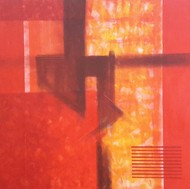 Untitled by Dhirendra Mandge, Abstract Painting, Acrylic on Canvas, Red color