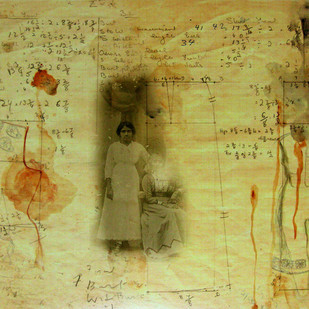 Stitched Chronicles Series I by Anoli Perera, Illustration Painting, Mixed Media on Paper, Beige color