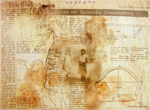 Stitched Chronicles Series II by Anoli Perera, Illustration Painting, Mixed Media on Paper, Beige color