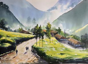 Mist & Light by Sunil Linus De, Impressionism Painting, Watercolor on Paper, Beige color